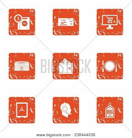 Big Startup Icons Set. Grunge Set Of 9 Big Startup Vector Icons For Web Isolated On White Background