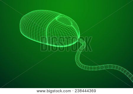 Wireframe Computer Mouse Low Ply Mesh Vector Illustration.