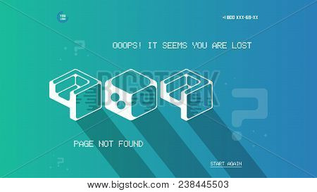 Error 404 Page Template With Flat Space Art. Flat Design Vector 404 Error Page Template For Website.