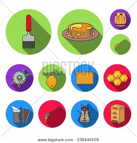 Apiary And Beekeeping Flat Icons In Set Collection For Design.equipment And Production Of Honey Vect
