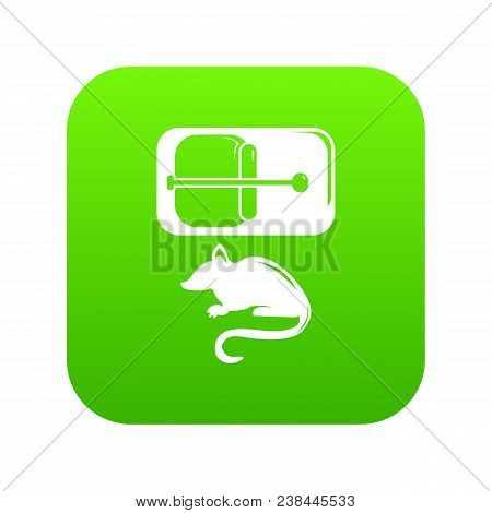 Mousetrap Icon Green Vector Isolated On White Background