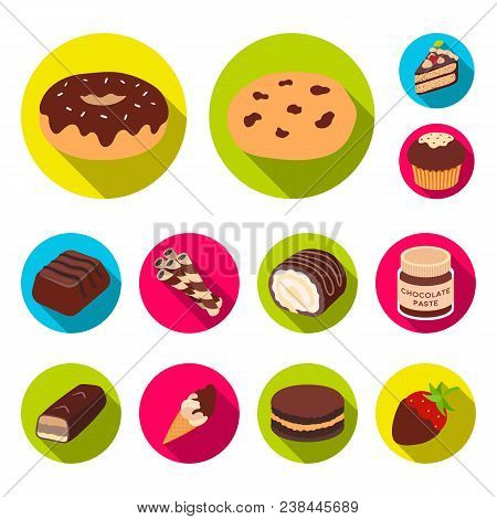Chocolate Dessert Flat Icons In Set Collection For Design. Chocolate And Sweets Vector Symbol Stock