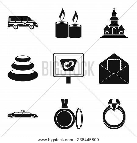 Lady Happiness Icons Set. Simple Set Of 9 Lady Happiness Vector Icons For Web Isolated On White Back