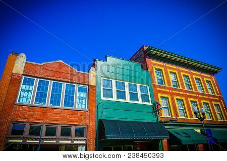 Colorful Old-fashioned Storefront Buildings In Downtown Smithfield, North Carolina.