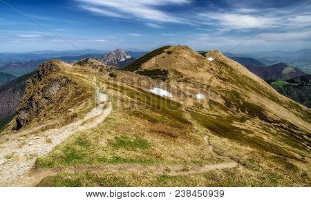 Hike Trail In Mala Fatra National Park, Slovakia. Mountain Landscape