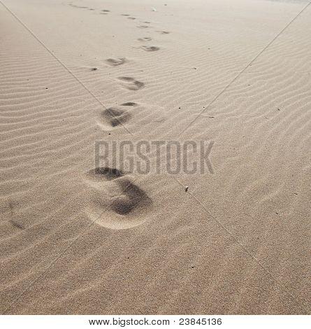 footprints on the sand, extreme closeup photo