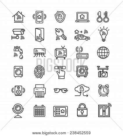 Smart Home Signs Black Thin Line Icon Set Include Of Faucet, Car, Window, Door And Camera. Vector Il