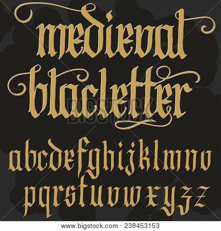 Gothic Font, Handmade Medieval Script, Lowercase Calligraphic Letters, Full Alphabet Set, Blacklette