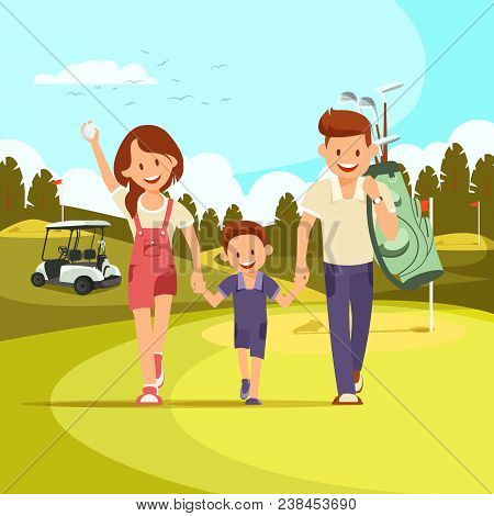 Happy Couple With Golf Clubs Leading Son To Play Golf. Golf Course. Family Holiday. Vector Illustrat