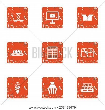 Distribution Icons Set. Grunge Set Of 9 Distribution Vector Icons For Web Isolated On White Backgrou
