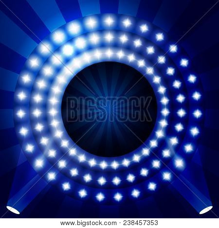 Tv Show Backdrop With Circles Of Lights - Illuminated Stage Or Podium For Award Ceremony