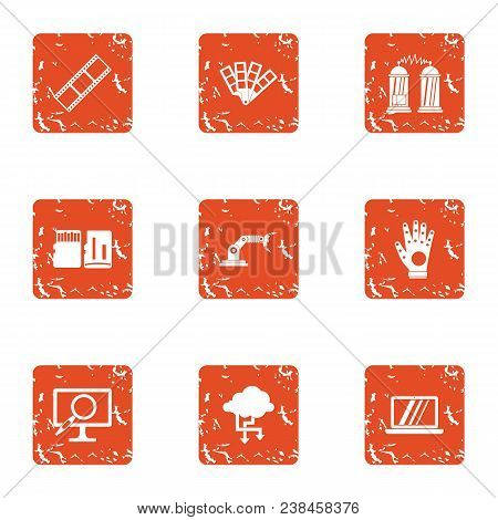 Wireless Protection Icons Set. Grunge Set Of 9 Wireless Protection Vector Icons For Web Isolated On