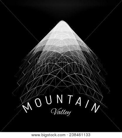 Mountain Valley Grid Concept. Wireframe Polygon Landscape Element, Digital Triangles Geometric Moder