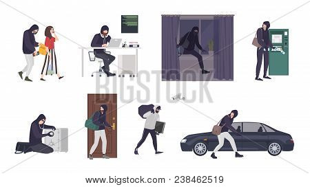 Collection Of Scenes With Male Thief Or Burglar Wearing Mask And Black Clothes Stealing Things From