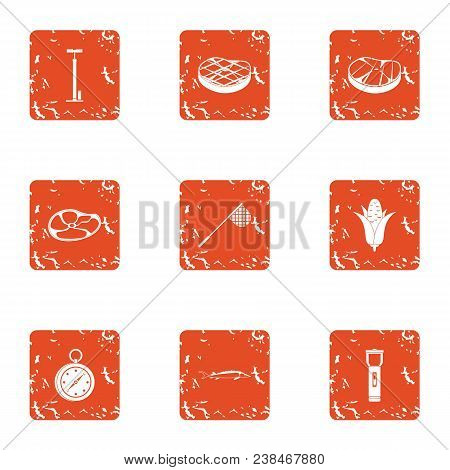 Alimentation Icons Set. Grunge Set Of 9 Alimentation Vector Icons For Web Isolated On White Backgrou