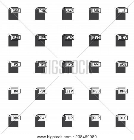 File Formats Vector Icons Set, Modern Solid Symbol Collection, Filled Style Pictogram Pack. Signs, L