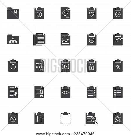 File And Folders Vector Icons Set, Modern Solid Symbol Collection, Filled Style Pictogram Pack. Sign