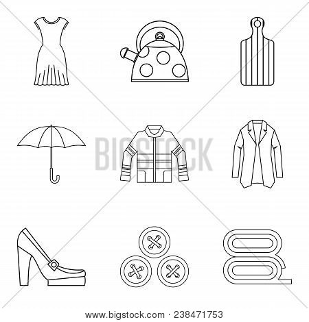Woman Firm Icons Set. Outline Set Of 9 Woman Firm Vector Icons For Web Isolated On White Background