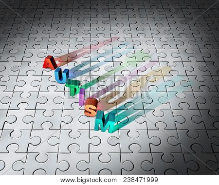 Puzzle Of Autism And Childhood Developmental Disorder Jigsaw Background As An Abstract Symbol For Au