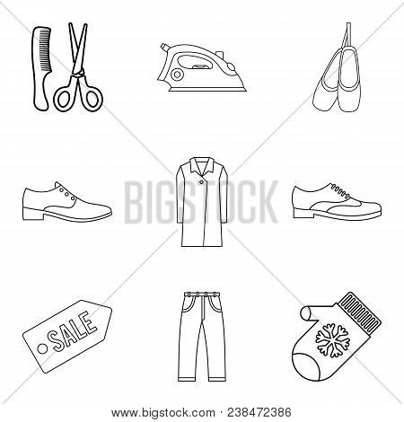 Lady Firm Icons Set. Outline Set Of 9 Lady Firm Vector Icons For Web Isolated On White Background
