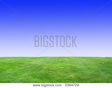 Background Of Blue Sky And Green Grass V1