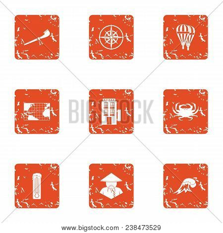 Mysterious Asia Icons Set. Grunge Set Of 9 Mysterious Asia Vector Icons For Web Isolated On White Ba