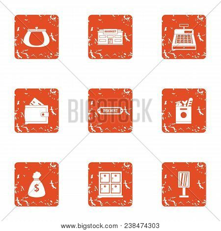 Wealth Suite Icons Set. Grunge Set Of 9 Wealth Suite Vector Icons For Web Isolated On White Backgrou