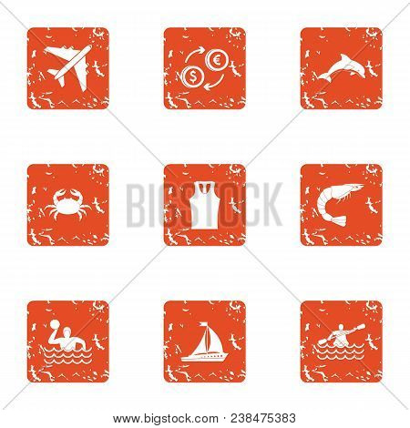 Trip Wealth Icons Set. Grunge Set Of 9 Trip Wealth Vector Icons For Web Isolated On White Background