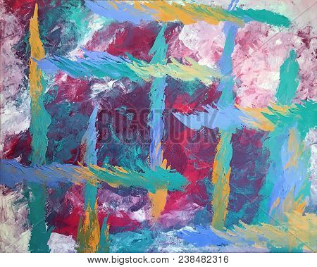 Acrylic Painting On Canvas Of Blue Green And Gold Palette Knife Strokes On Magenta And White Backgro