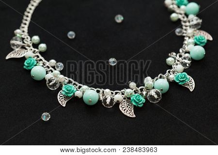 Beautiful Handmade Turquoise Necklace With Shiny Crystals, Gemstone Beads, Plastic Flowers And Metal