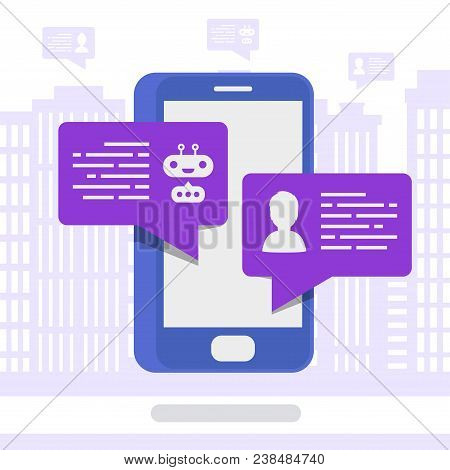 Vector Chat Bot Concept Isometric Style Modern Color With Mobile On City Background For Communicatio