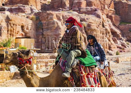 Jordan, Ancient Petra - 10 January 2017:tourist Complex Of The Ancient City Of Petra With Tourists A
