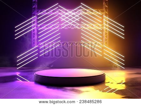 Blank Concert Platform For Product Placement With Glowing Neon Tube Lighting In Purple And Orange. 3
