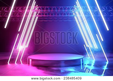 Glowing Neon Lighting And A Blank Platform For Product Placement, 3d Illustration.