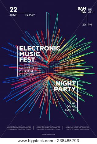 Electronic Music Party Poster. Trendy Club Party Flyer Modern Gradients Minimalist Style. Dance Fest