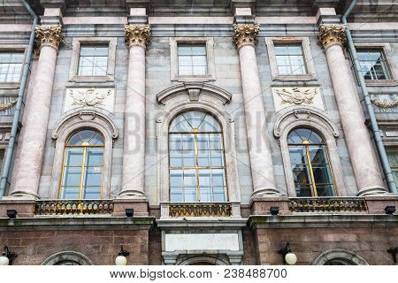 Saint Petersburg, Russia - March 19, 2018: Facade Of Marble Palace In Courtyard. Marble Palace Is On