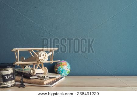 Travel Accessories And Items On Wooden Table And Copy Space, Travel Concept