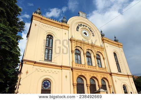 Synagogue in Pecs, Hungary. Jewish culture landmark. poster