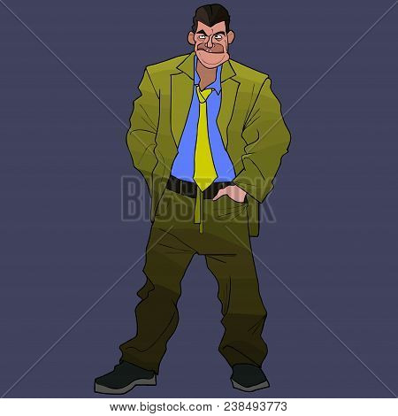 Cartoon Untidy Large Man In Green Suit With A Tie