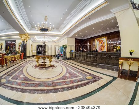 Moscow, Russia - April 18, 2018: Ritz Carlton Hotel Lobby And Reception Desk In Moscow, Russia On Ap