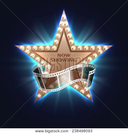 Now Showing Movie Vector Background With Hollywood Film Star. Film Movie Star, Show Light Cinema Ill