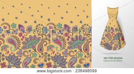 Hand Drawn Flower Seamless Pattern. Colorful Seamless Pattern With Floral Pattern In Eastern Style.