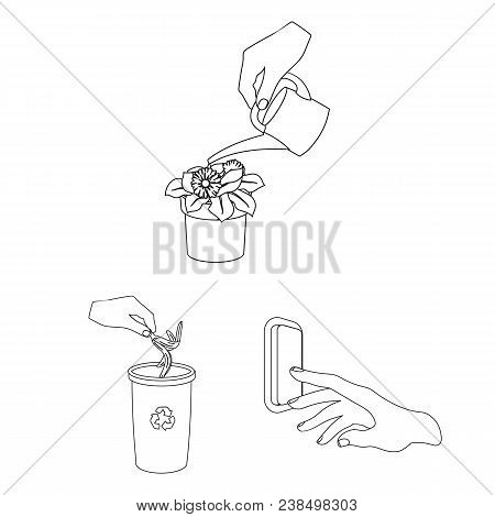 Manipulation By Hands Outline Icons In Set Collection For Design. Hand Movement Vector Symbol Stock