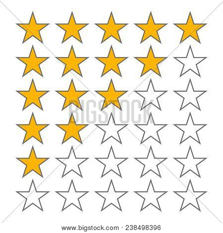 Row Of Five Stars Rate. 5 Star Rating Vector Icons Isolated On White Background. Star In Row, Review