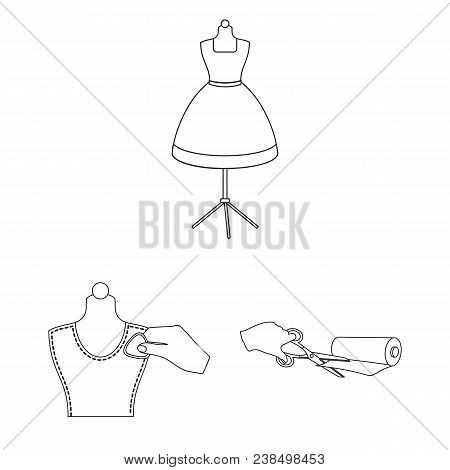 Atelier And Equipment Outline Icons In Set Collection For Design. Sewing Of Outer Clothing Vector Sy