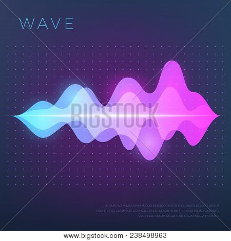 Abstract Music Vector Background With Sound Voice Audio Wave, Equalizer Waveform. Voice Audio, Track
