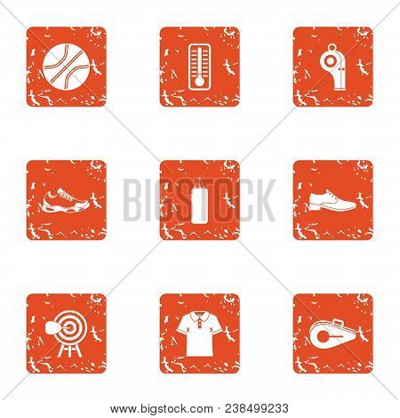 Sport Standard Icons Set. Grunge Set Of 9 Sport Standard Vector Icons For Web Isolated On White Back