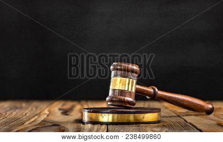 Judges Hammer On Black Board Background, Justice Concept