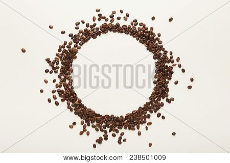 Empty Circle Drawn With Coffee Beans On White Isolated Background. Mockup For Advertizing, Copy Spac