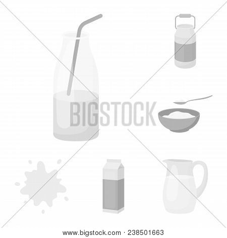Milk Product Monochrome Icons In Set Collection For Design.milk And Food Vector Symbol Stock  Illust